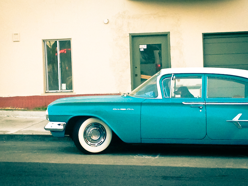Blue Bel Air with Dog