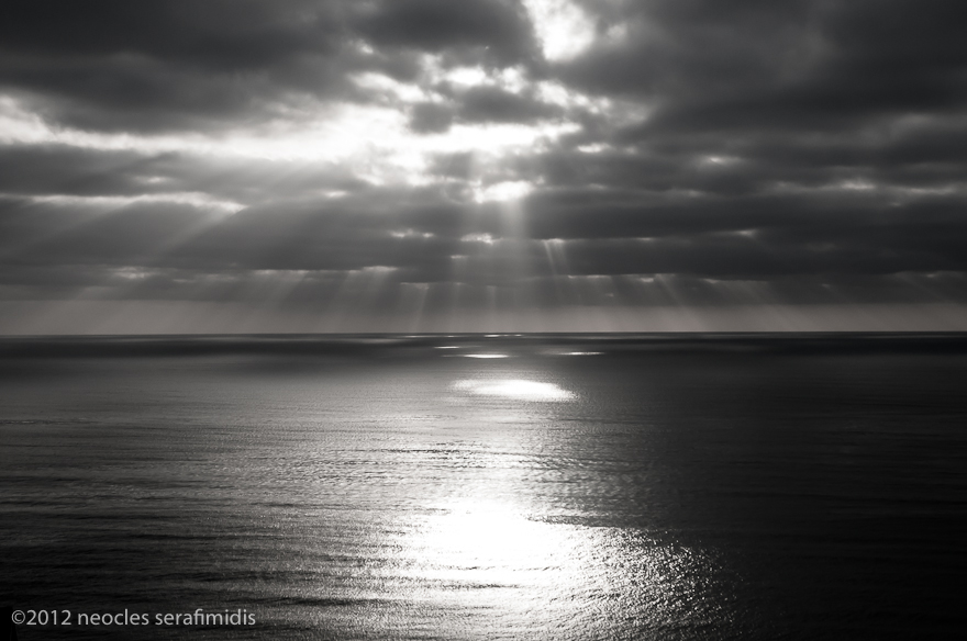 Point Loma Sunset B&W