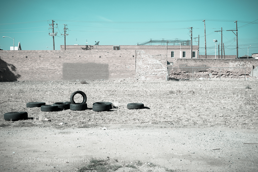Empty lot with tires. Fresno, CA. February, 2013