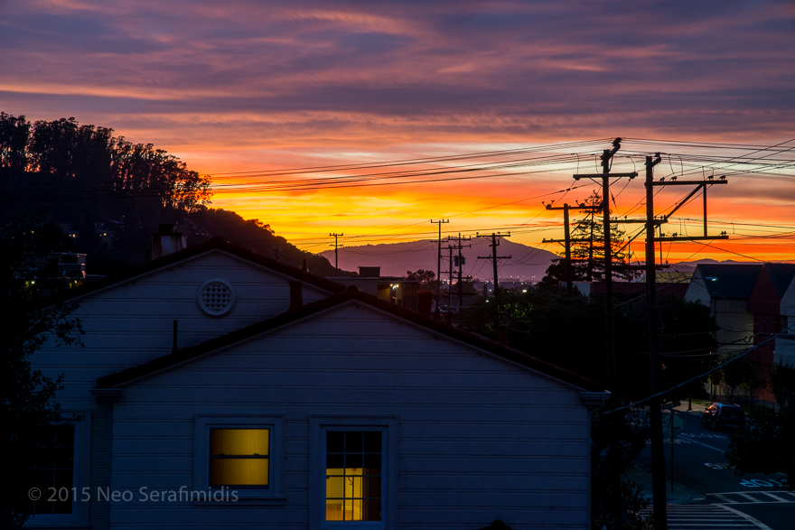 Shot from the roof, looking west toward Mt Tam. Albany CA. October 2015